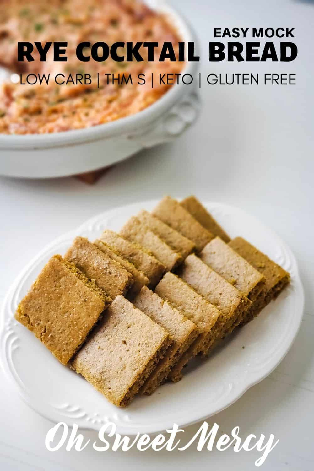 Super easy, low carb, Mock Rye Cocktail Bread is ready to eat in less than an hour. Perfect for parties, appetizers, and snacking. #thm #lowcarb #keto #glutenfree #ryebread