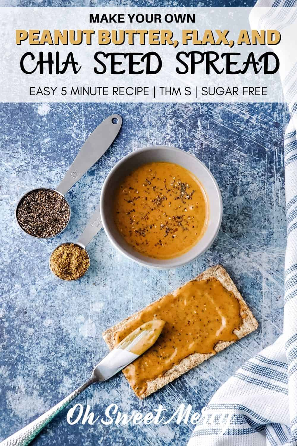 Make your own Trader Joe's or Aldi peanut butter with flax and chia seeds with this super easy 5 minute recipe! A healthy, delicious peanut butter spread great for celery, sandwiches, smoothies, and more. #peanutbutter #chia #flax #lowcarb #thmsnacks