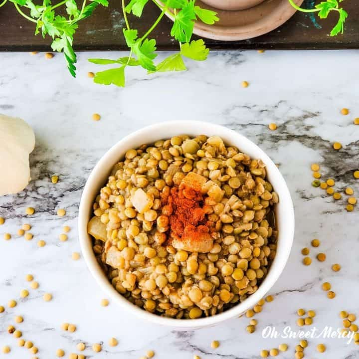 Bowl of simple seasoned lentils