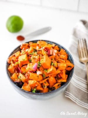 Bowl of Chipotle Lime Roasted Sweet Potato Salad