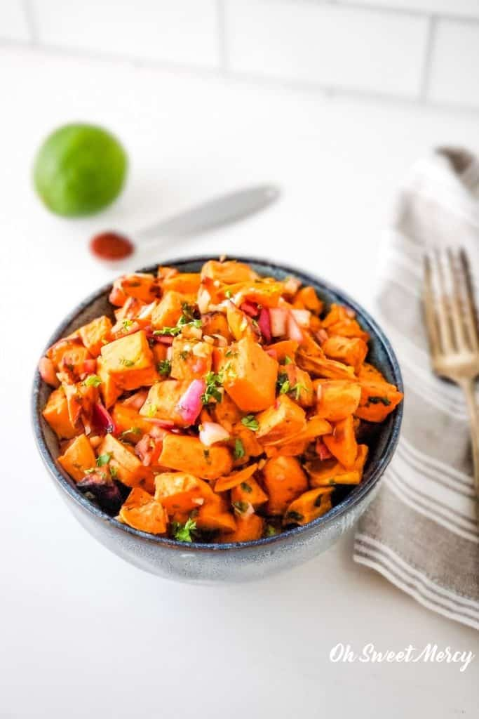 Bowl of Chipotle Lime Roasted Sweet Potato Salad