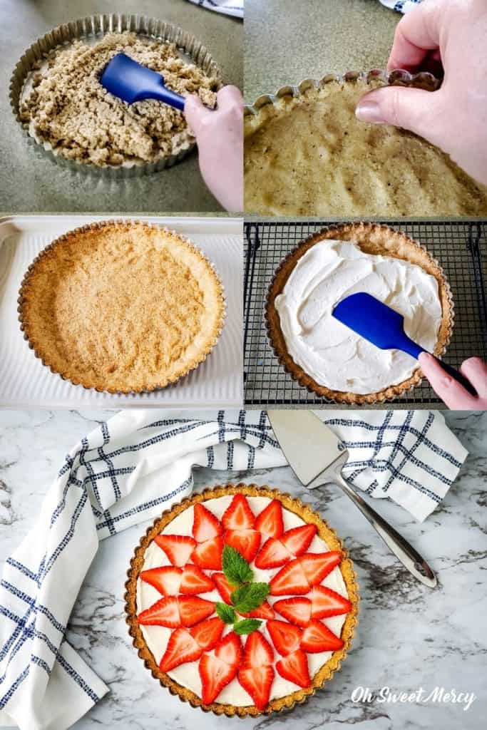 Collage showing how to make the Strawberry Mascarpone Tart: press crust dough into pan, bake, cool, add mascarpone filling, top with sliced strawberries and garnish.