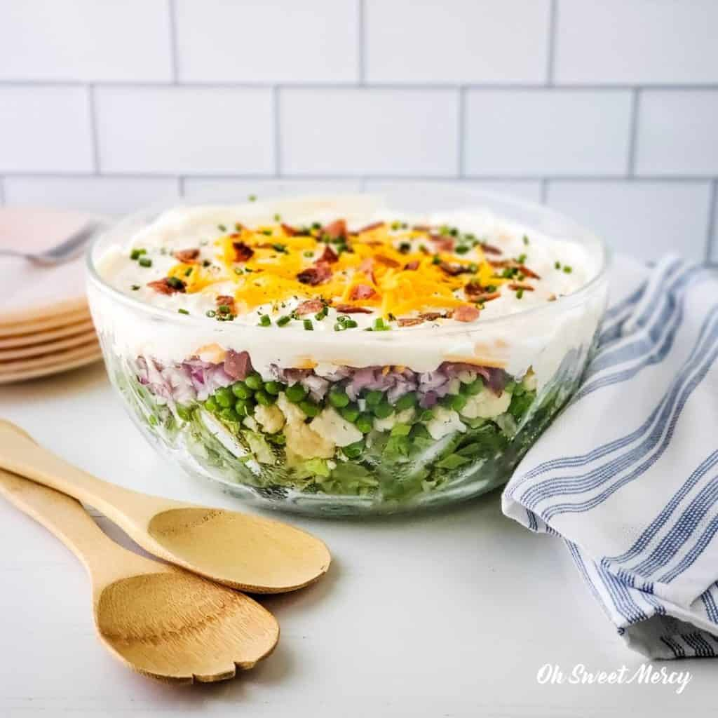 Bowl of Low Carb 7 Layer Salad