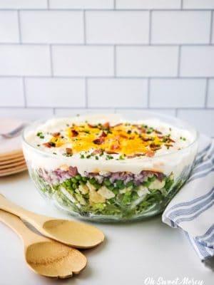 Bowl of Low Carb 7 Layer Salad