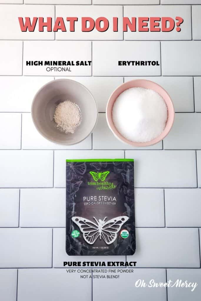 Mercy Sweet ingredients: erythritol, pure stevia extract, salt (optional)