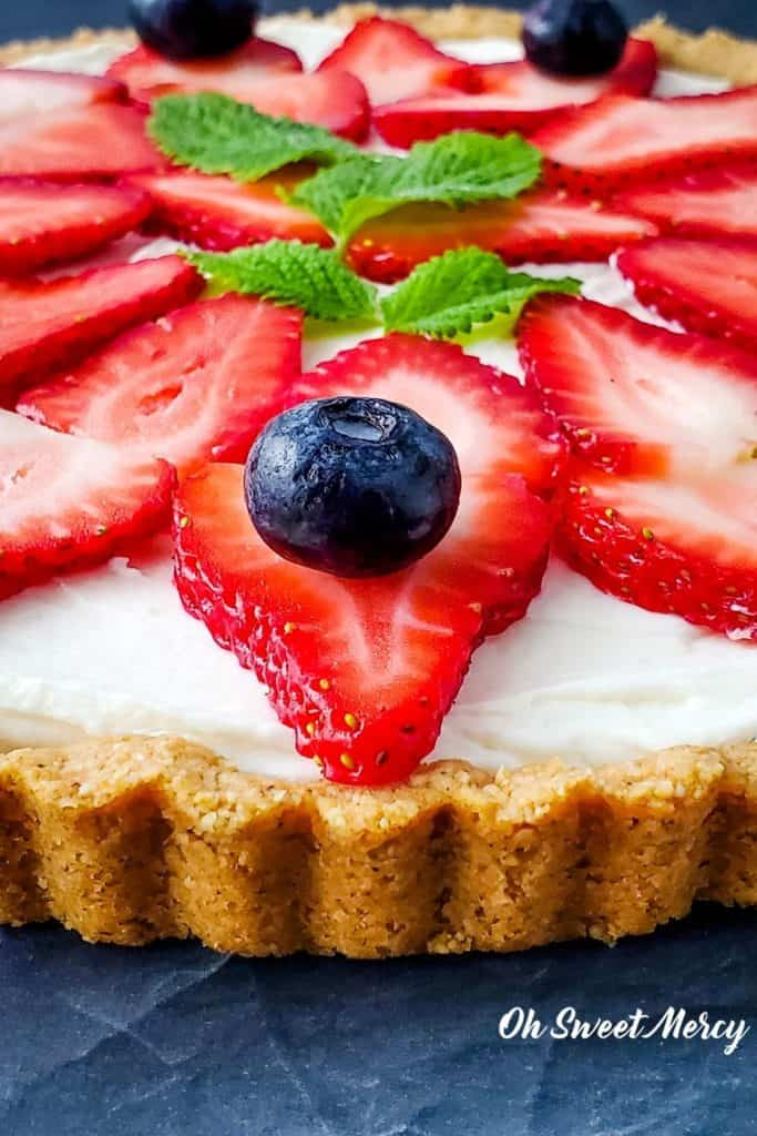 Close up of berry tart with blueberries