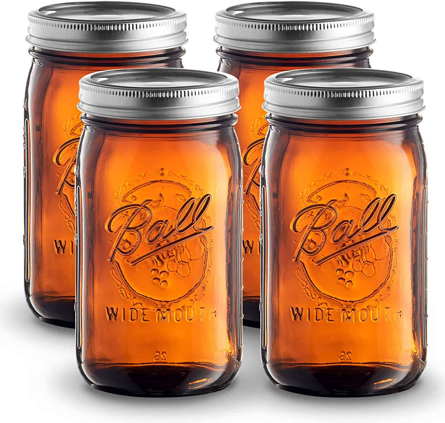 Amber UV Blocking Wide Mouth Mason Jars, 32 Oz
