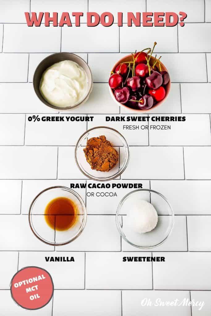 Black Forest Cherry Pops ingredients: non-fat Greek yogurt, dark sweet cherries (fresh or frozen), raw cacao powder or cocoa, vanilla, sweetener, optional MCT oil