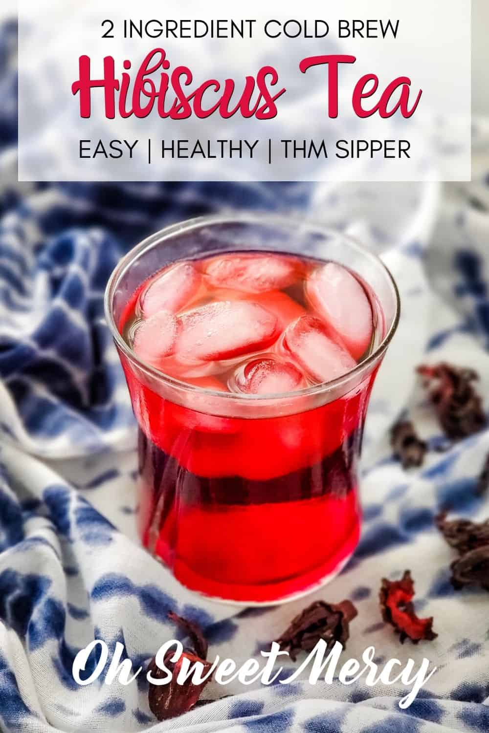 Deep, rich, ruby-red and delightfully tangy, this easy Cold Brew Hibiscus Tea is refreshing and healthy without artificial colors or dyes. Packed with antioxidants, too! #coldbrew #icedtea #hibiscus #hibiscustea #thmsippers @ohsweetmercy