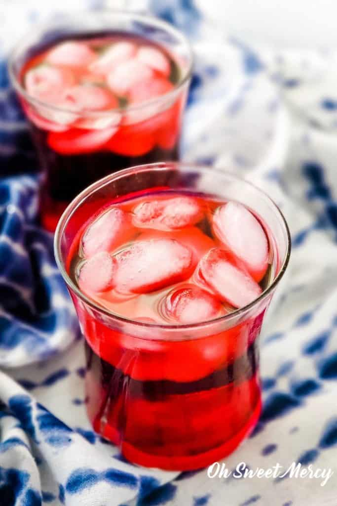 Glasses of refreshing cold brew hibiscus tea