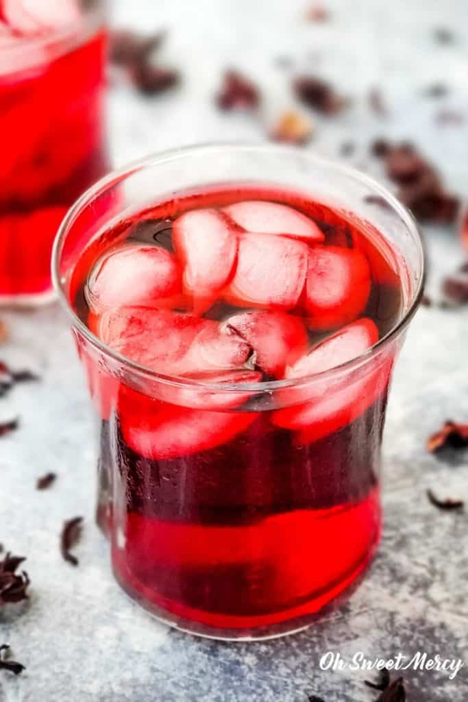 Glass of cold brewed hibisus tea