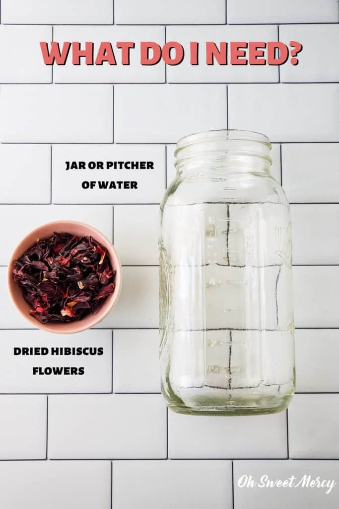 Cold brew hibiscus tea ingredients: dried hibiscus flowers, jar or pitcher with water.