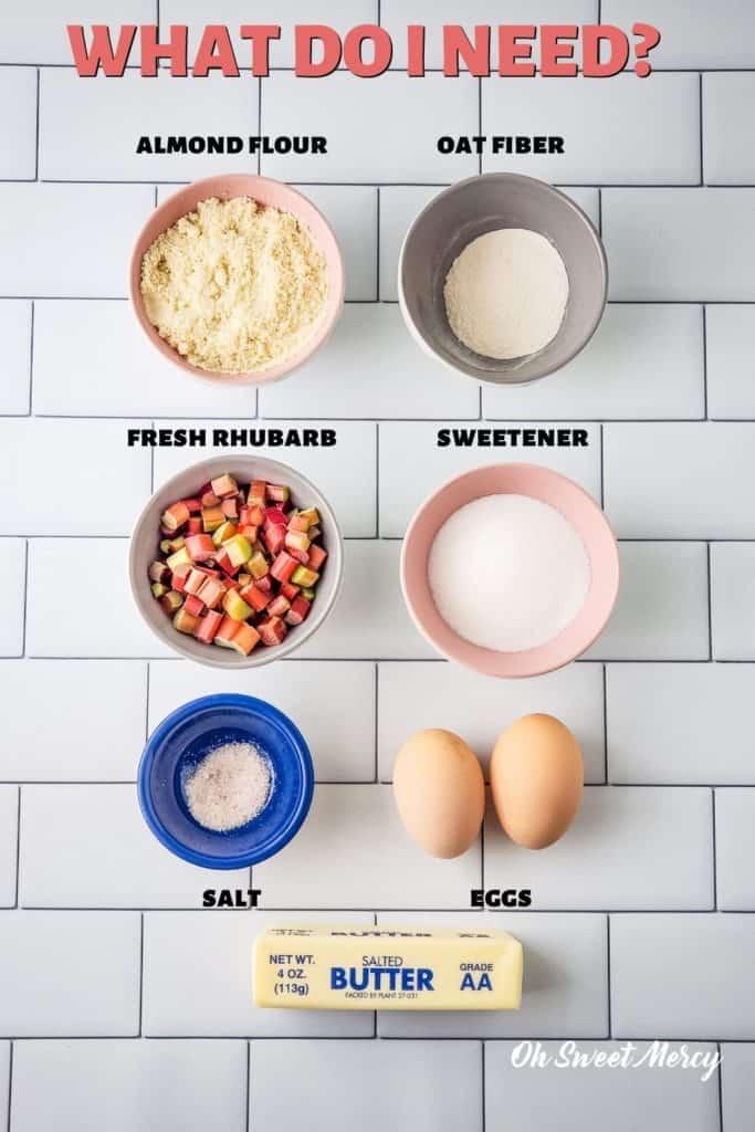 Low carb rhubarb dream bars ingredients: almond flour, oat fiber, sweetener, eggs, butter, salt, rhubarb, almond flour