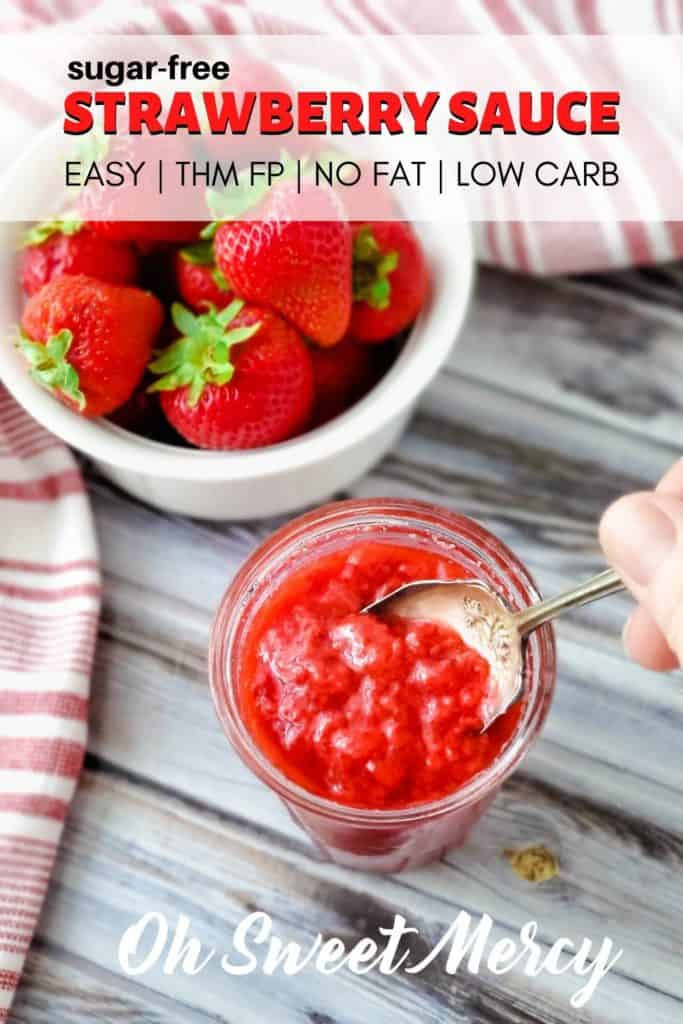 SUGAR FREE STRAWBERRY SAUCE PINTEREST PIN IMAGE
