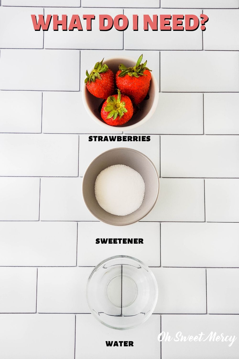 Ingredients for sugar free strawberry sauce: strawberries, sweetener, water, optional salt
