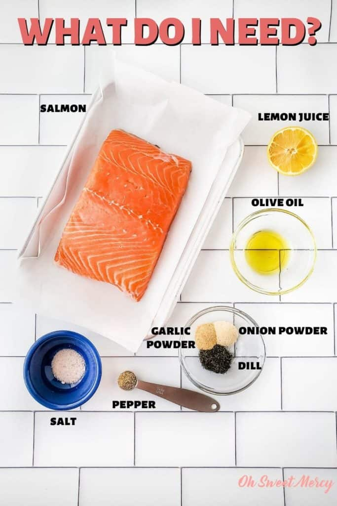 Lemon Dill Air Fryer Salmon Ingredients: salmon, olive oil, lemon juice, garlic powder, onion powder, dill, pepper, salt