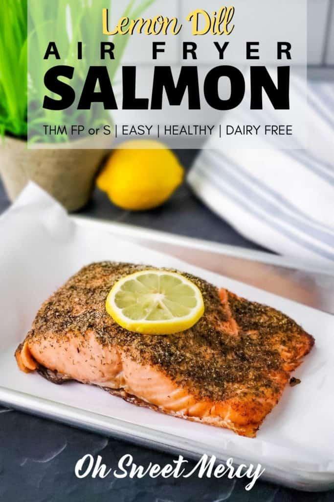 Lemon Dill Salmon for air fryer Pinterest Image