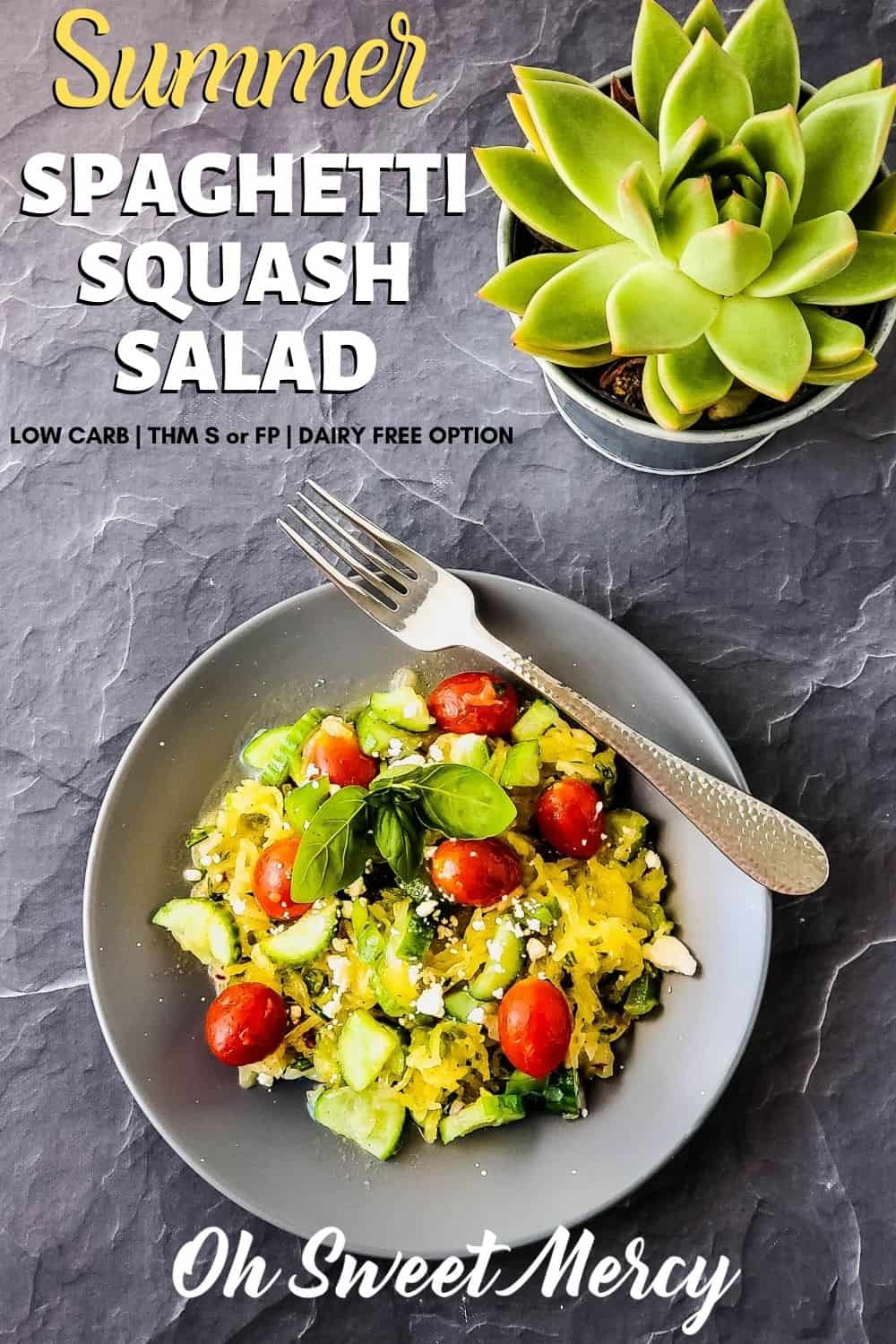 "My Summer Spaghetti Squash Salad combines the fresh taste of summer favorites and a tangy vinaigrette with spaghetti squash for a low carb ""pasta"" salad that's perfect alongside whatever comes off your grill. Dairy free option makes it vegan, too! Trim Healthy Mamas, you can enjoy as an S or a FP, too. #spaghettisquash #summersalads #lowcarb #healthyfats #pastasalad #thm @ohsweetmercy"