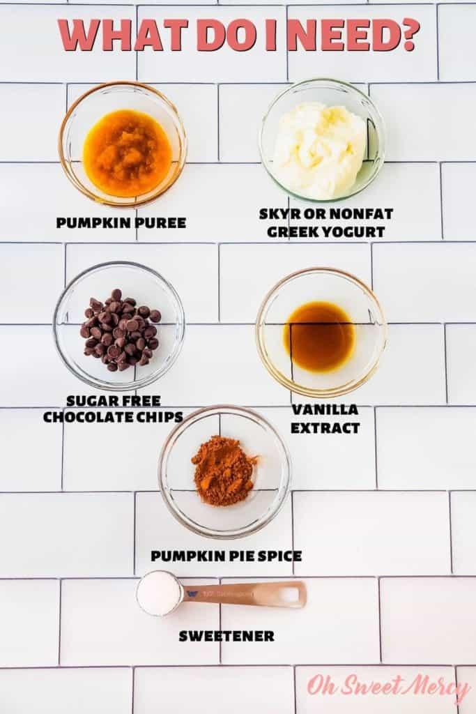 Pumpkin Pie Yogurt with Chocolate Chips Ingredients: pumpkin puree, skyr or non-fat Greek yogurt, vanilla, pumpkin pie spice, sweetener, sugar free chocolate chips