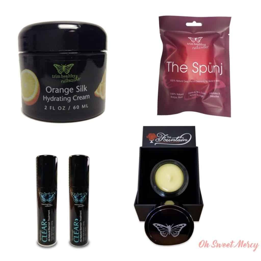 THM Skin Care Collage: Orange Silk Hydrating Cream, Spunj Deep Cleansing Facial Exfoliator, Clear AM/PM blemish system, The Fountain Anti-Aging Cream