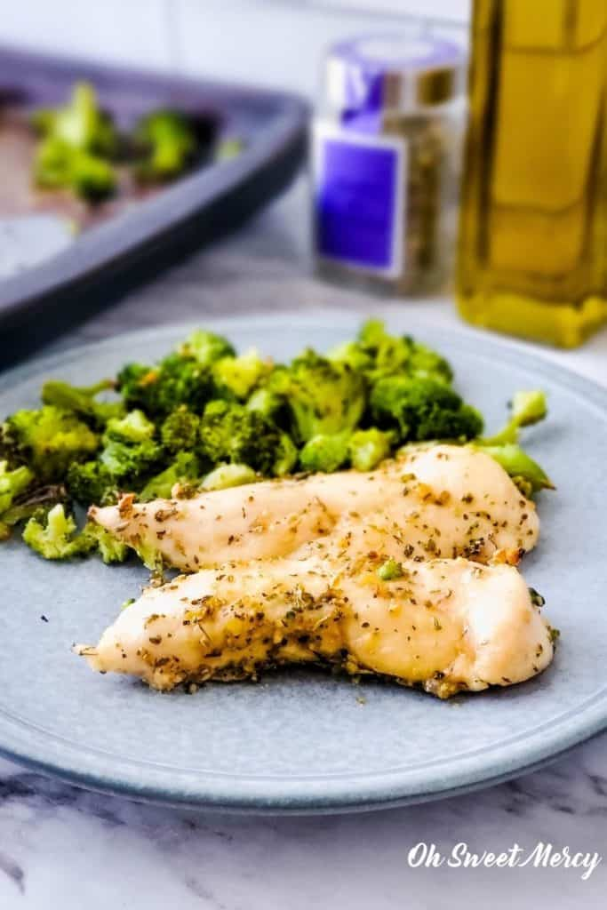 Herbes de Provence Chicken and Broccoli on a plate
