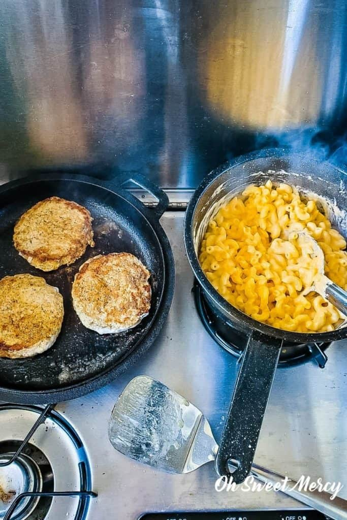 Low carb mac and cheese made while camping using this cheese sauce