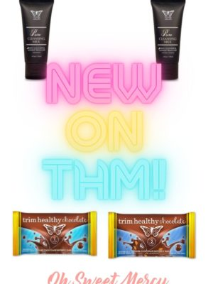 New THM Products Launch collage: pure milk cleansing creams, new chocolate bars