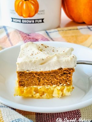 Piece of sugar free pumpkin pie bars, ready to eat