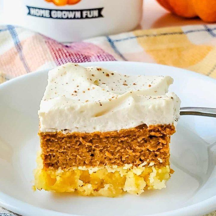 Piece of sugar free pumpkin pie bars, ready to eat