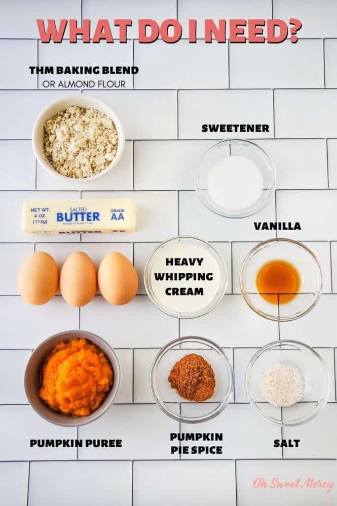 Sugar Free Pumpkin Bars ingredients: THM Baking Blend or almond flour, butter, eggs, pumpkin, pumpkin pie spice, salt, vanilla, heavy whipping cream, sweetener.