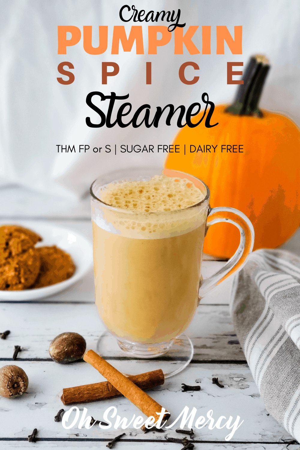 My easy, creamy pumpkin spice steamer is sugar and dairy free, and a low carb, low fat THM FP! Easily make this a THM S by adding MCT oil, coconut oil, or heavy cream if desired. So cozy and soothing and perfect for cold, fall and winter days. #thm #pumpkinspice #steamers #fallbeverages #lowfat #lowcarb #sugarfree @ohsweetmercy