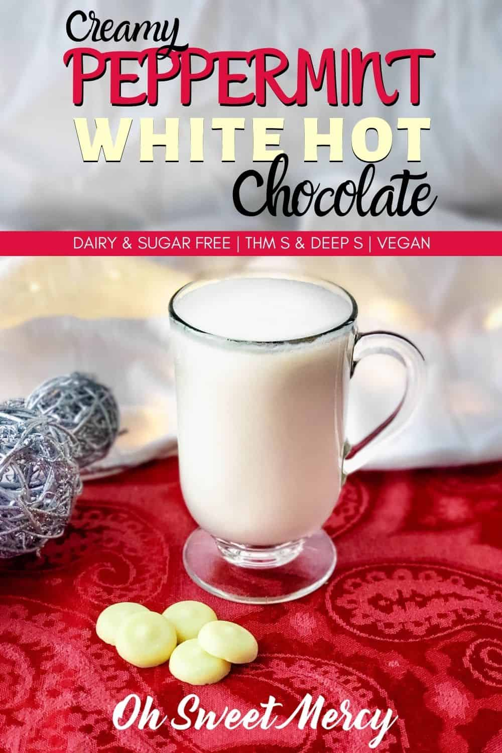 This Creamy Peppermint White Hot Chocolate is dairy and sugar free, but oh so rich and delicious. Perfect for THM Deep S, keto, and vegan peeps, this delicious drink nourishes with healthy fats. #thm #lowcarb #sugarfree #dairyfree #peppermint #whitehotchocolate #cacaobutter #vegan #keto #hotchocolate @ohsweetmercy