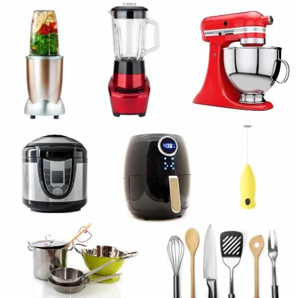 various kitchen tools and small appliances like blender, mixer, air fryer