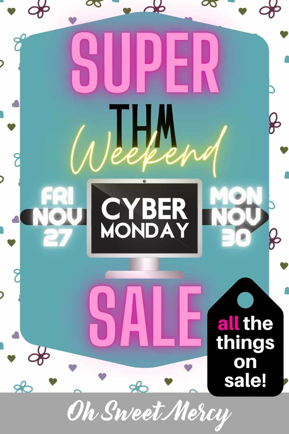 This year's THM Cyber Monday Sale is SUPER! Not just on Cyber Monday, but starting Black Friday and going all weekend through Nov 30! EVERYTHING is on sale! Time to stock up and bless others. #thm #cybermondaysale #blackfriday #thmdeals @ohsweetmercy