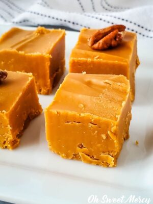 Close up of piece of low carb butterscotch fudge