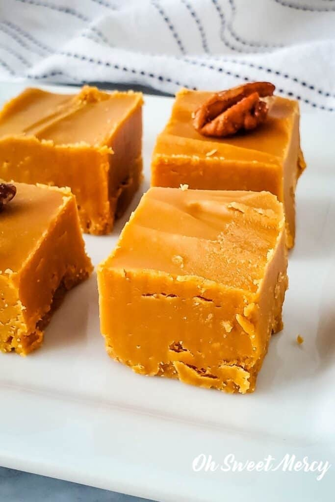 Close up of piece of low carb butterscotch fudge