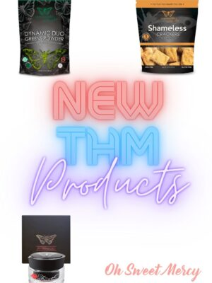 Graphic showing new THM products Dynamic Duo Greens Powder, Shameless Crackers, Super Fountain anti aging cream