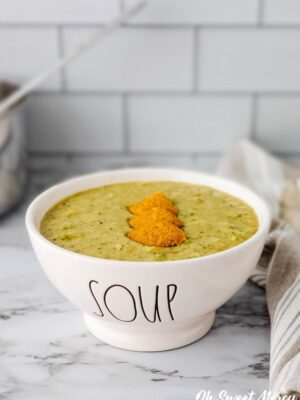 Bowl of dairy free cheesy broccoli soup