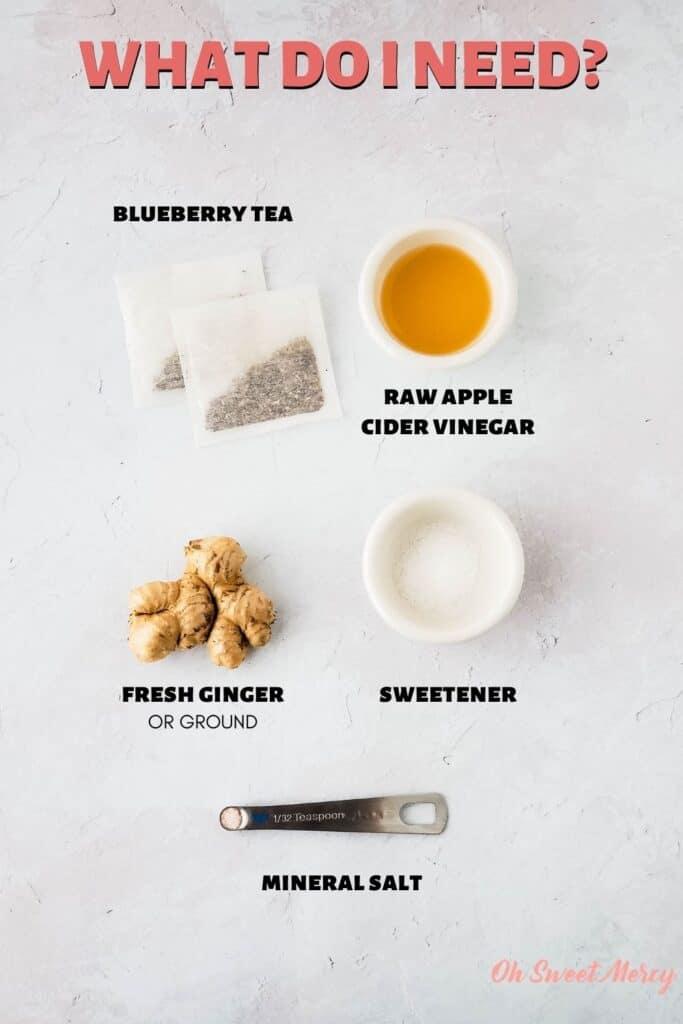 Ginger Blueberry Good Girl Moonshine ingredients: blueberry tea bags, raw apple cider vinegar, fresh ginger (or ground), sweetener, high mineral salt.