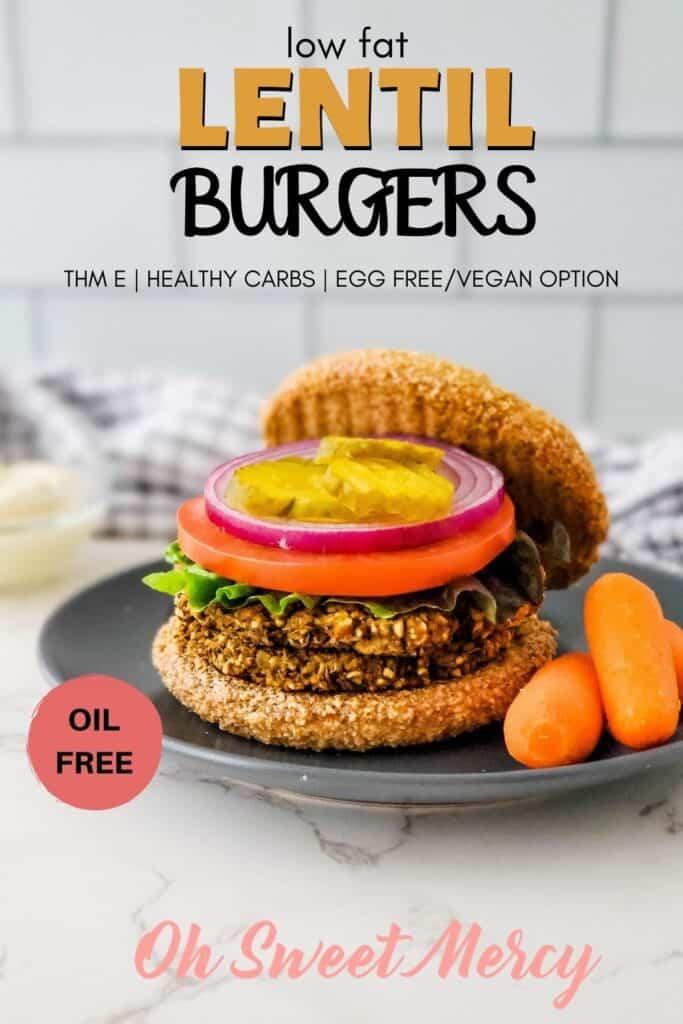 Pinterest Pin image for low fat lentil burgers recipe