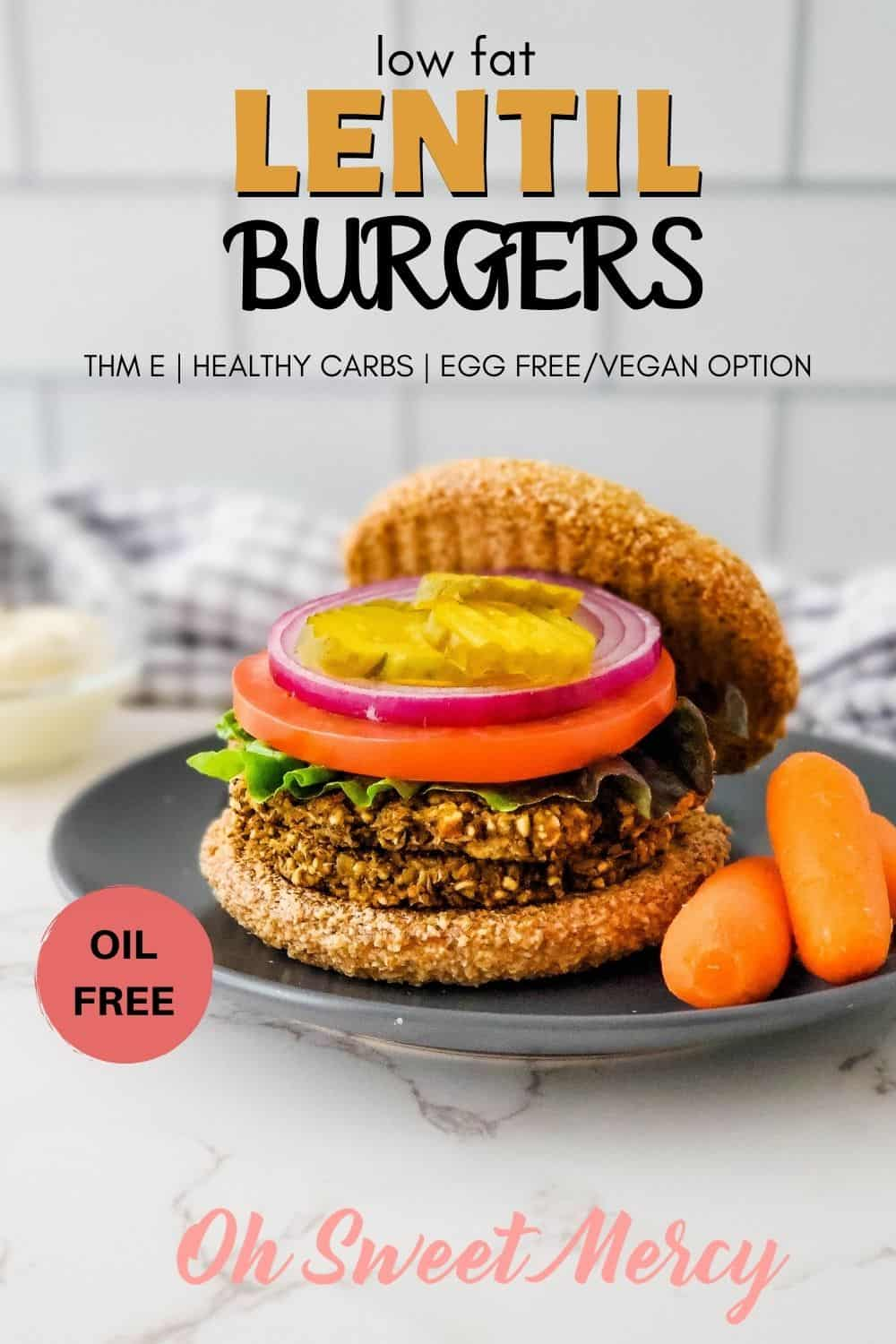 My Low Fat Lentil Burgers are so good even non-THM and meat eaters love them! Healthy carbs, no added fat, with egg free/vegan option, too. They freeze well so great for meal prep to have easy, healthy THM E meals on hand. #lowfat #healthycarbs #thm #eggfree #vegan #lentilburgers #lentils @ohsweetmercy