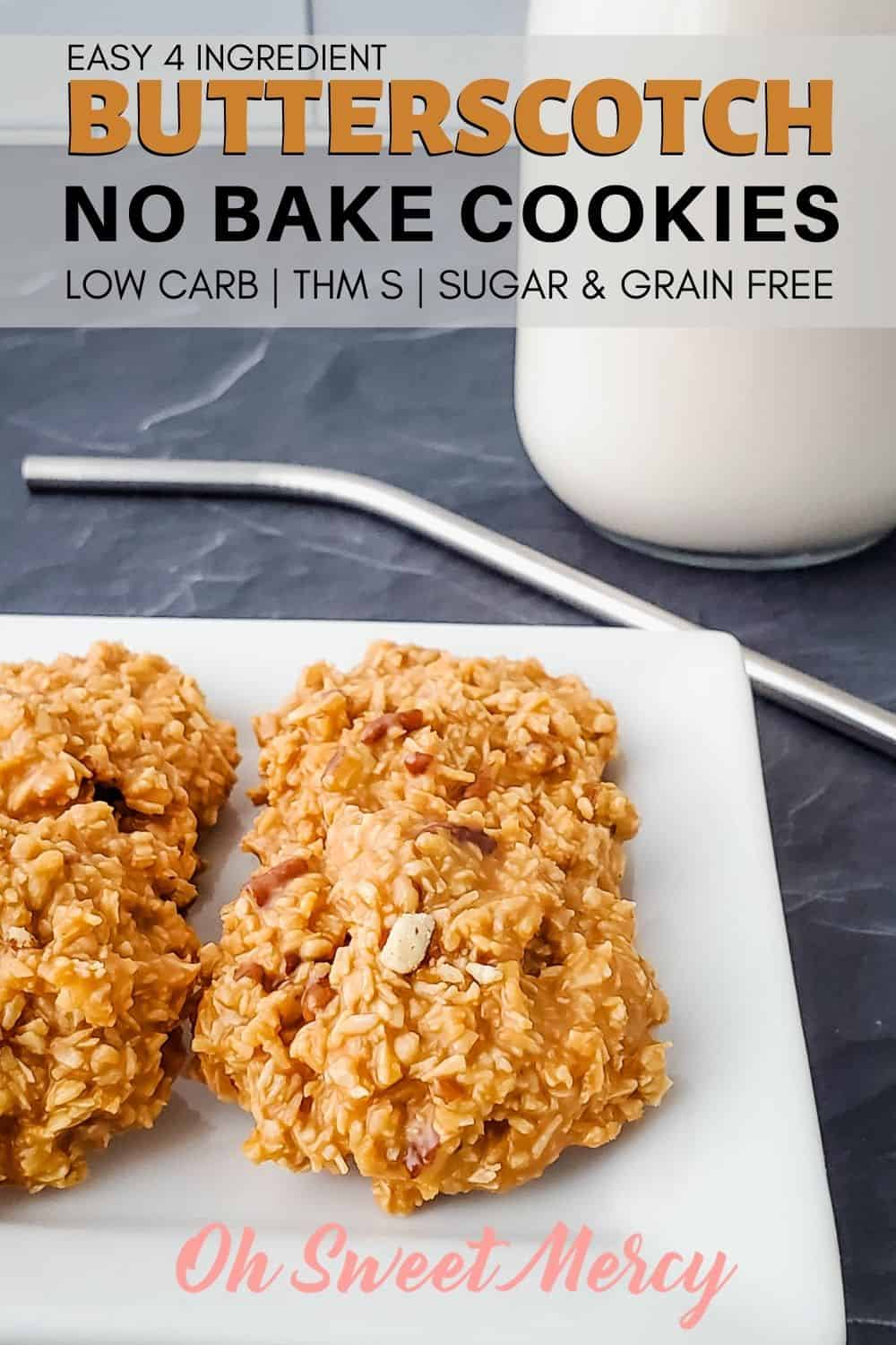 Quick and easy, just 4 ingredients! No sugar, no grains, and no boiling. This easy low carb recipe makes a great THM S (and keto) treat! #thm #lowcarb #keto #grainfree #sugarfree #glutenfree #nobakecookies