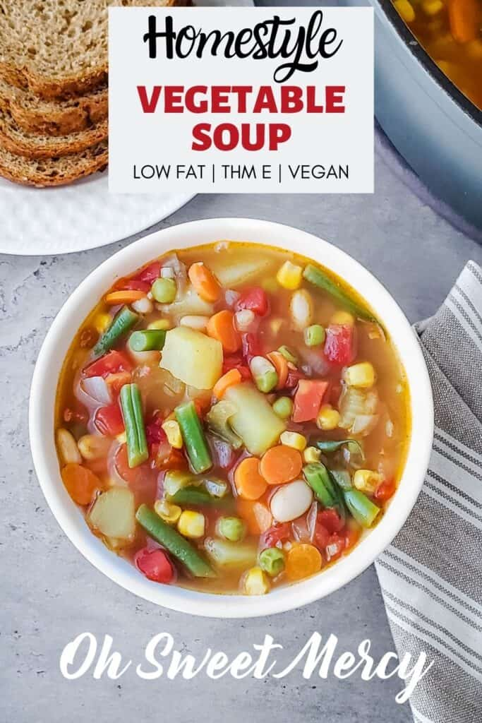 Pinterest Pin image for Homestyle Vegetable Soup recipe