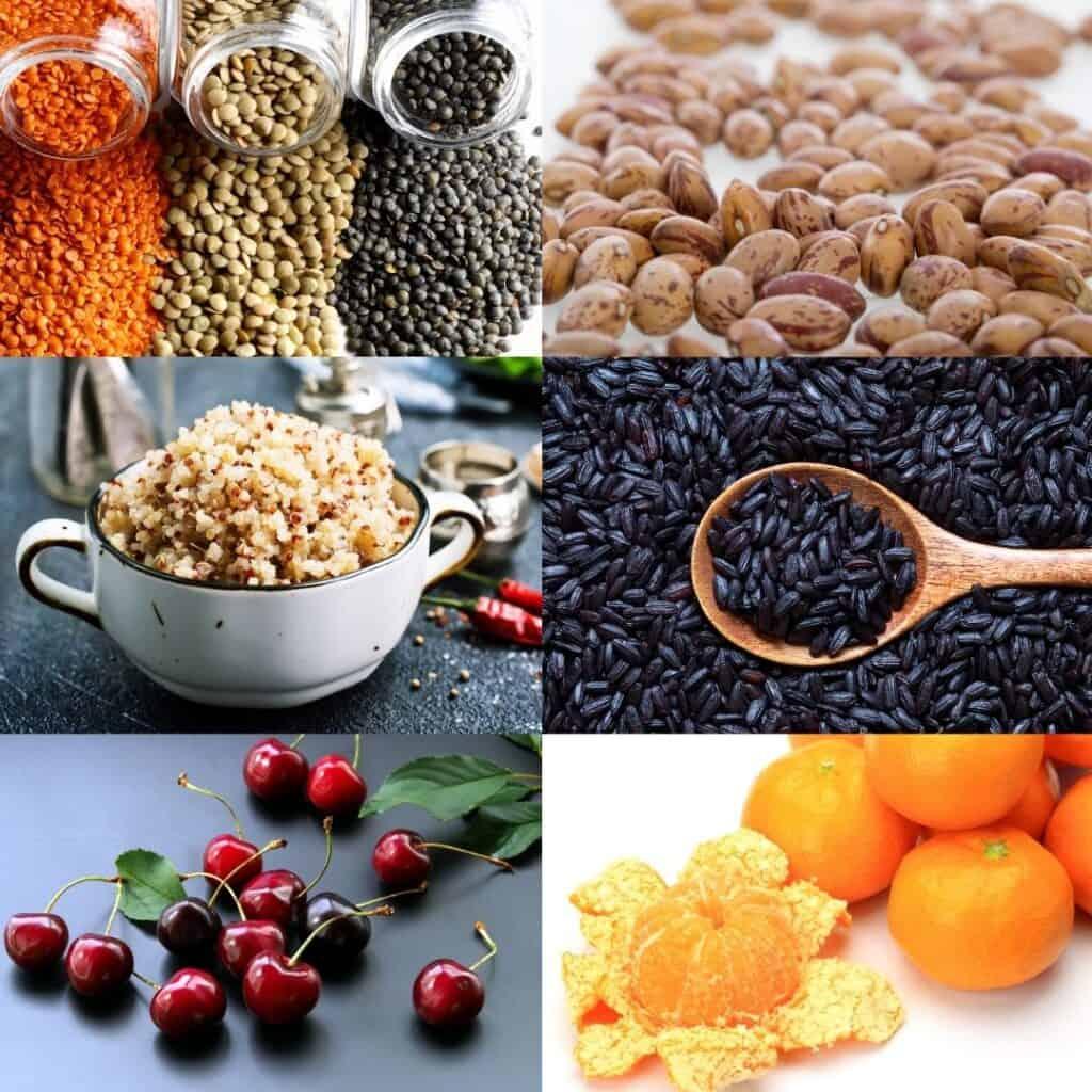 Collage of lentils, pinto beans, cooked quinoa, black rice, cherries, and mandarin oranges