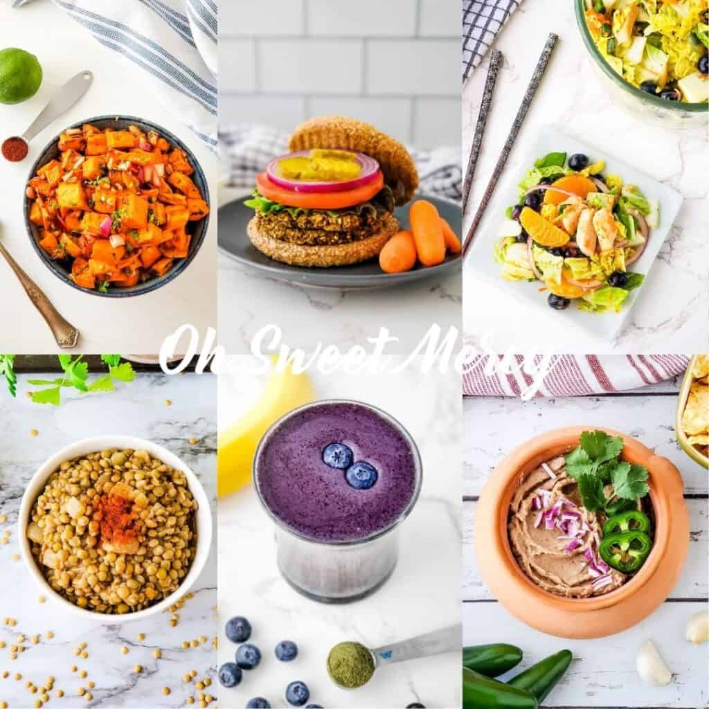 collage of some of my favorite THM E meals: chipotle lime roasted sweet potato salad, lentil burgers, mandarin blueberry napa cabbage salad, simple seasoned lentils, secret blueberry smoothie, party bean dip