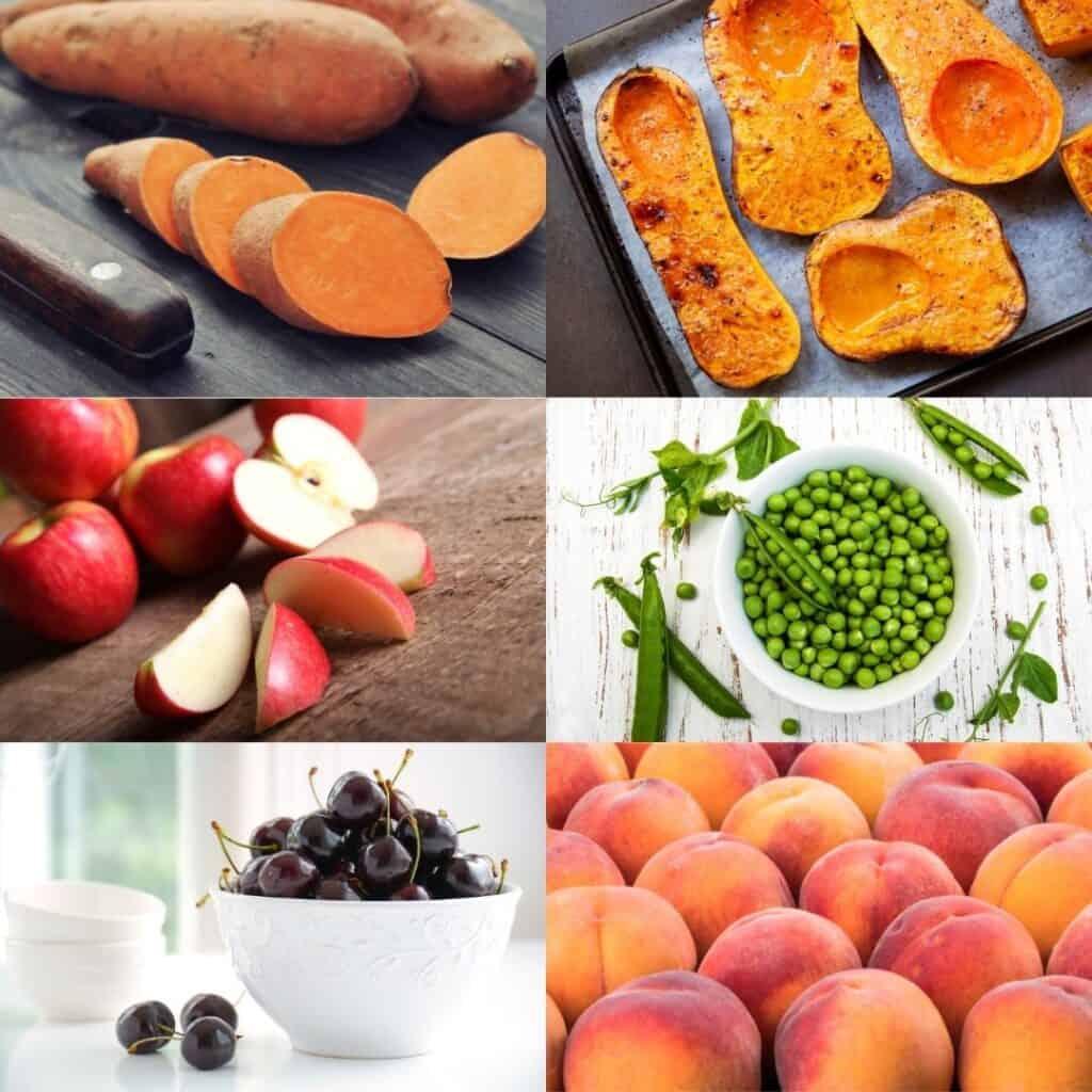 Collage of sweet potato, butternut squash, apples, peas, dark sweet cherries, peaches