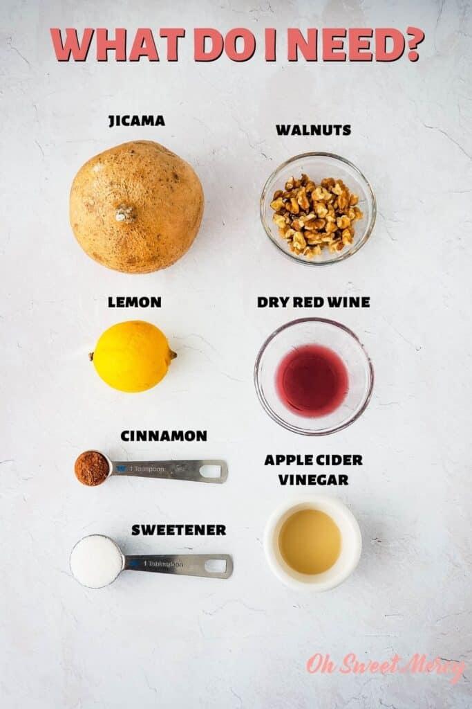 Low Carb Charoset ingredients: jicama, walnuts, lemon juice, dry red wine, cinnamon, sweetener, apple cider vinegar.