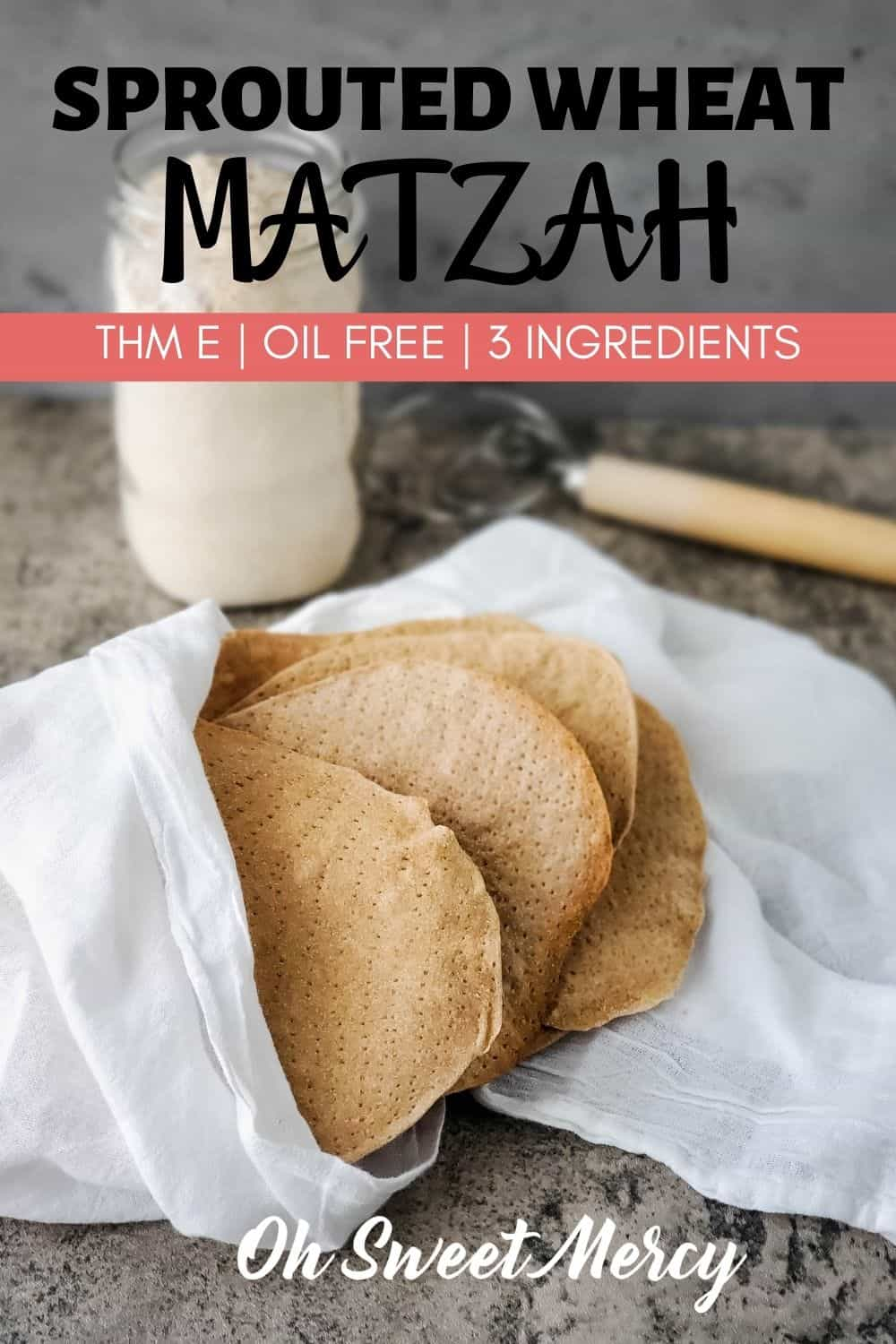 Enjoy on-plan sprouted wheat matzah for your THM Passover meal this year! Just 3 ingredients and no oil or added fats. #thm #sproutedwheat #homemadematzah #matzah #matzo #fatfree @ohsweetmercy