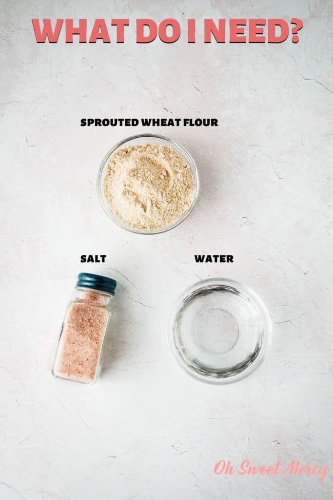 Ingredients for sprouted wheat matzah: sprouted wheat flour, salt, water