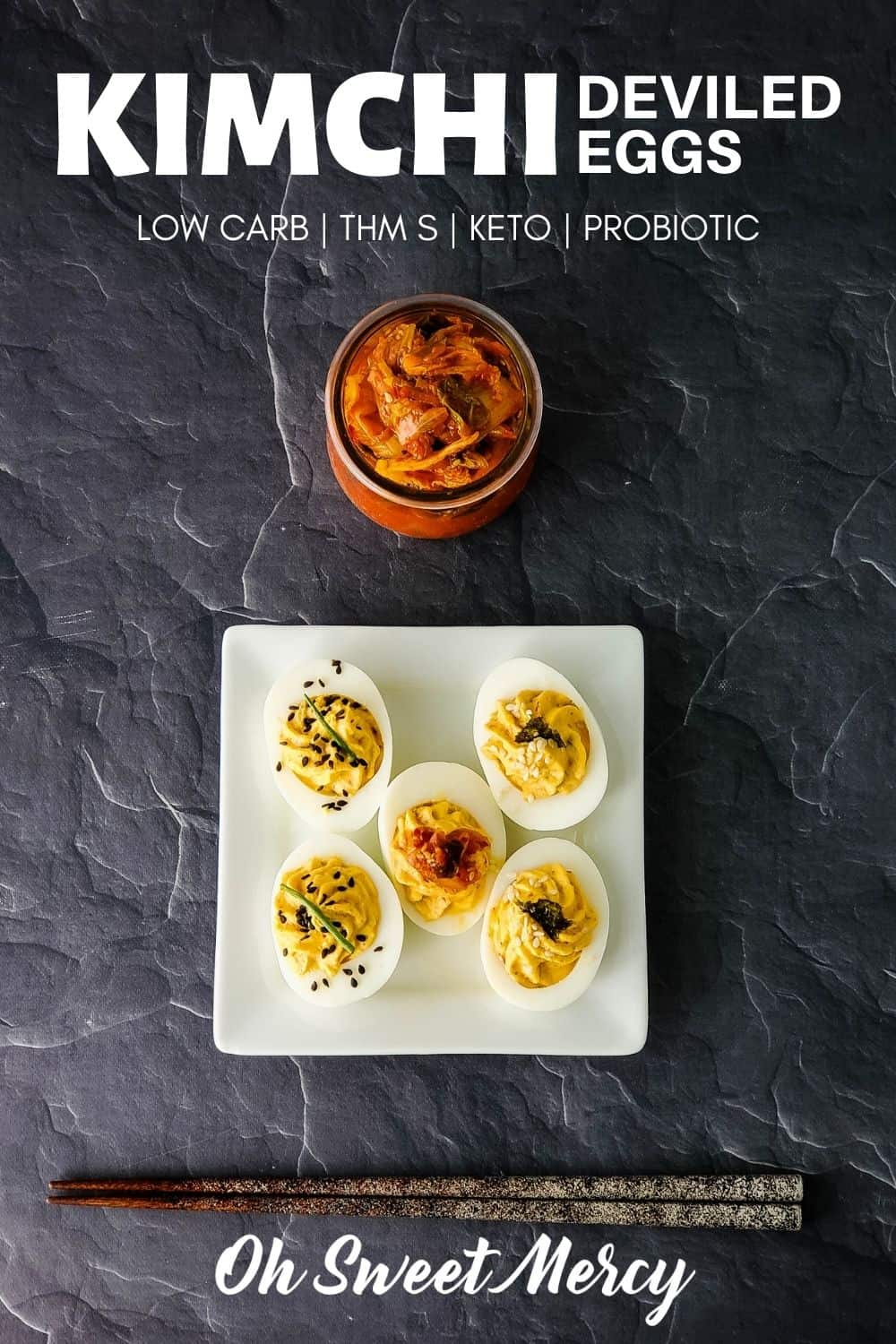 This simple but delicious kimchi deviled egg recipe is a great way to spice up your deviled eggs! Make them mild or spicy, either way you get probiotic goodness in every bite. Makes a tasty THM S appetizer, snack, or a quick protein source for any meal. #thm #lowcarb #keto #eggs #kimchi #probiotic @ohsweetmercy